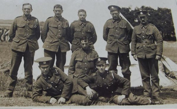 Eight British Soldiers in Camp