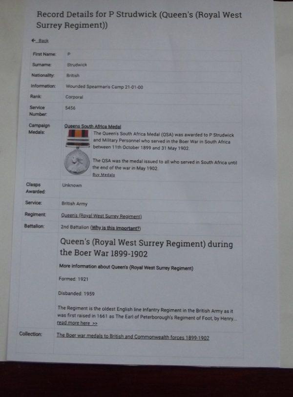 QSA 3 Clasps RL:WT: Surrey Regt.