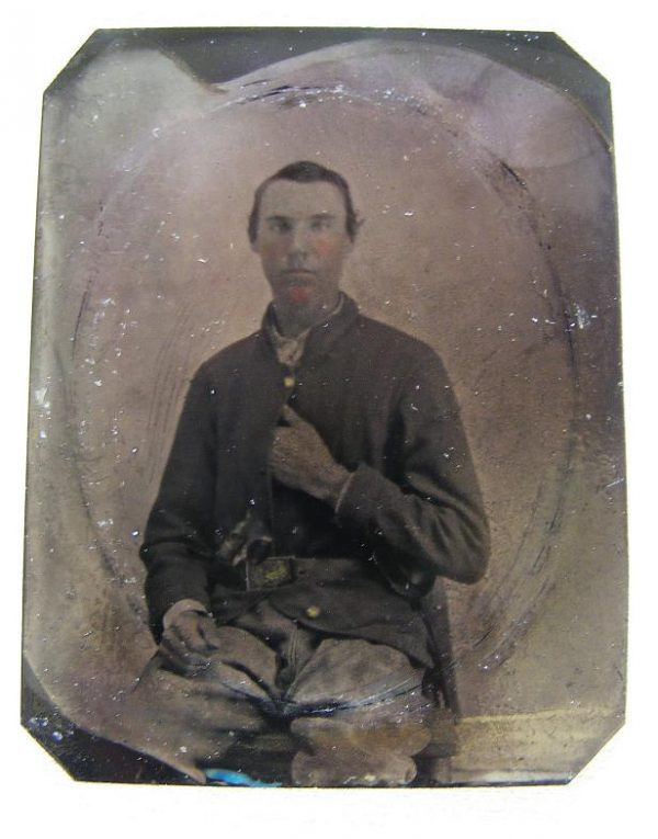 Sixth Plate Tintype Armed Fed. Soldier