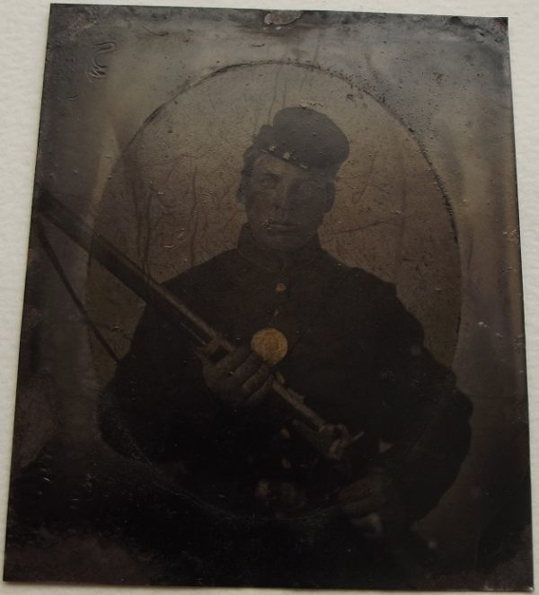 Sixth Plate Tintype Armed Federal Soldier