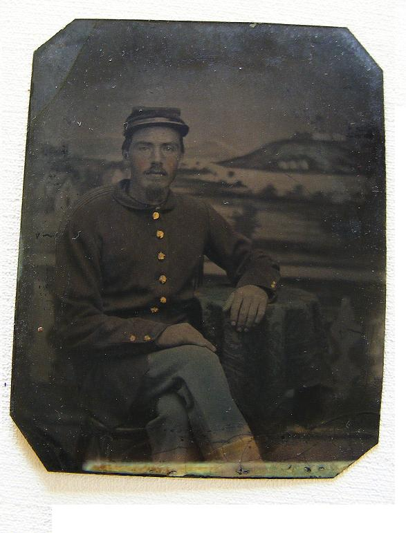 Sixth Plate Tintype Named Fed. Soldier