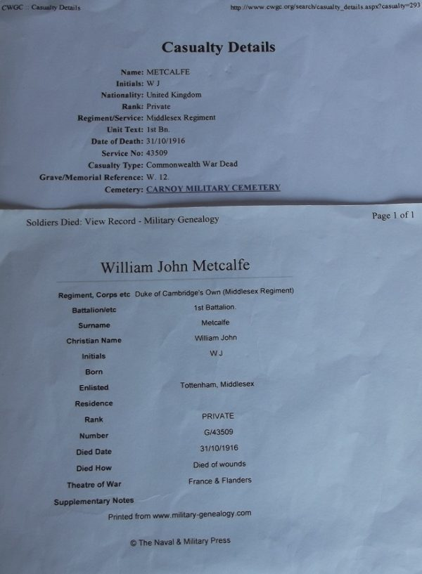 Pte. W.J. Metcalfe Middlesex Regt.