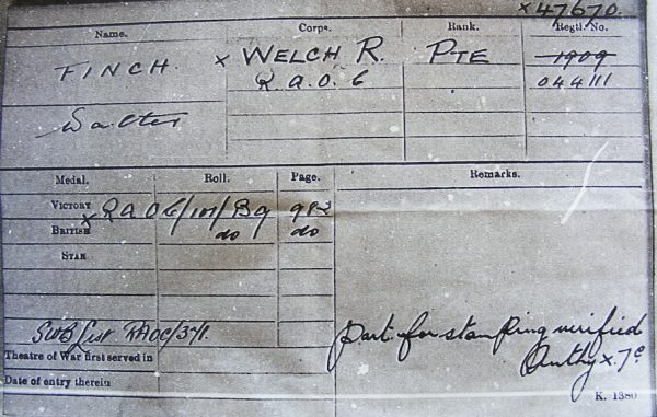 Pte. W. Finch Welsh Regt. W.I.A.