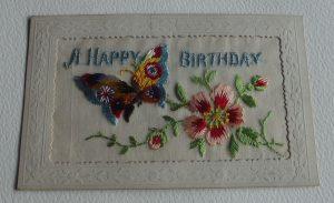 WWI Silk Butterfly Happy Birthday