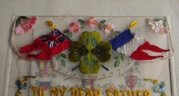 WWI Silk To My Dear Father