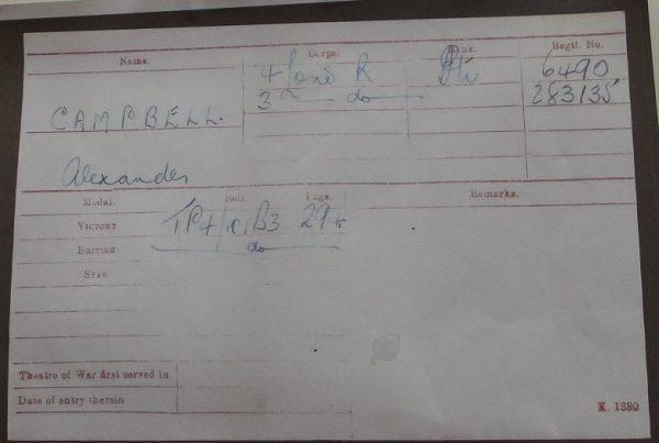 Pte. A. Campbell 4-London Regt. K.I.A.